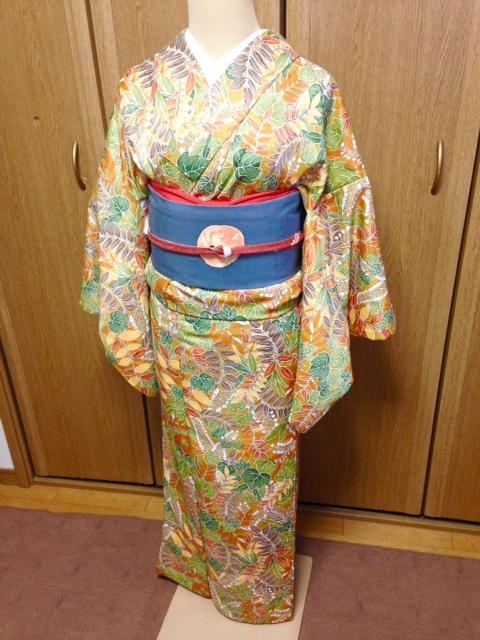 美容師Mさん・小紋とポイント柄名古屋帯と角出し攻略/大阪の着付け教室きものたまより
