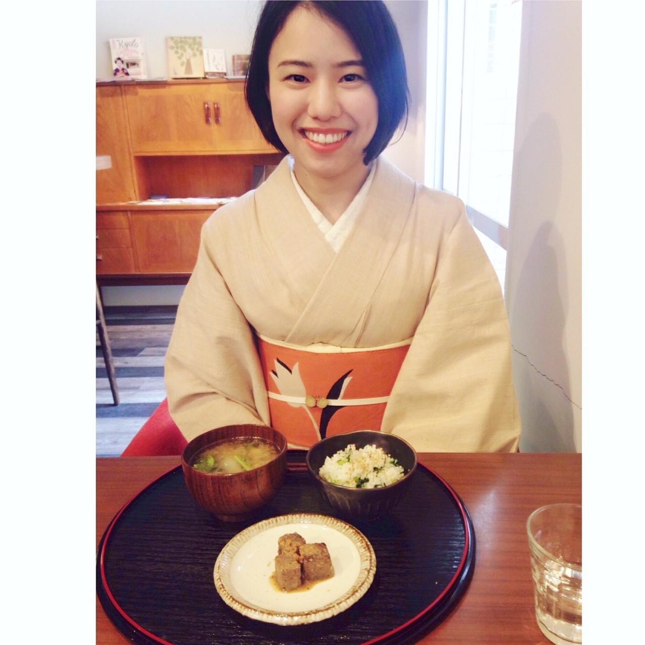 着物でお出掛け♪出町柳・カフェあずきへ/大阪の着付け教室きものたまより
