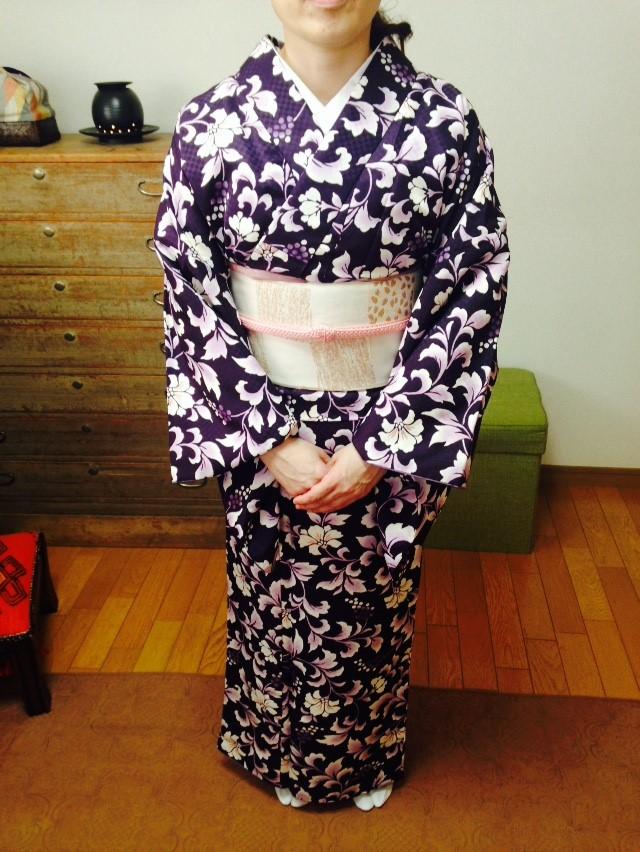 自主練バッチリなお生徒さんのレッスン/大阪の着付け教室きものたまより