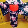 小学生のお生徒さんに浴衣レッスン/大阪の着付け教室きものたまより