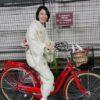 着物でも自転車に乗れます/大阪の着付け教室きものたまより
