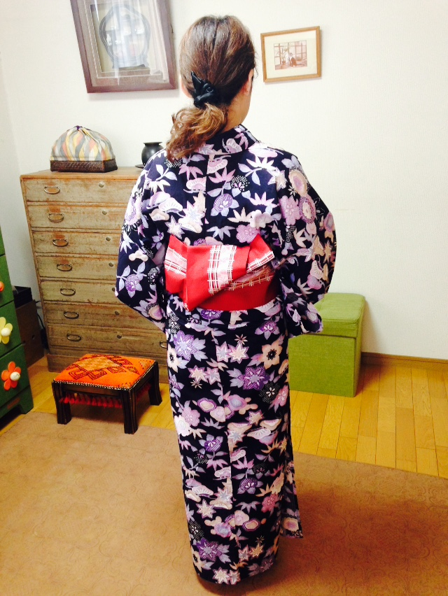キリッと粋な帯結びをレッスン/大阪の着付け教室きものたまより
