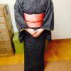 ポイント柄の一重太鼓のレッスン/大阪の着付け教室きものたまより