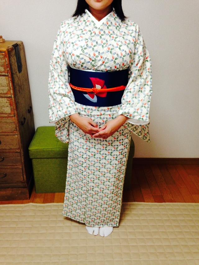 ポイント柄の名古屋帯で絶妙な位置に柄わせ/大阪のマンツーマン着付け教室