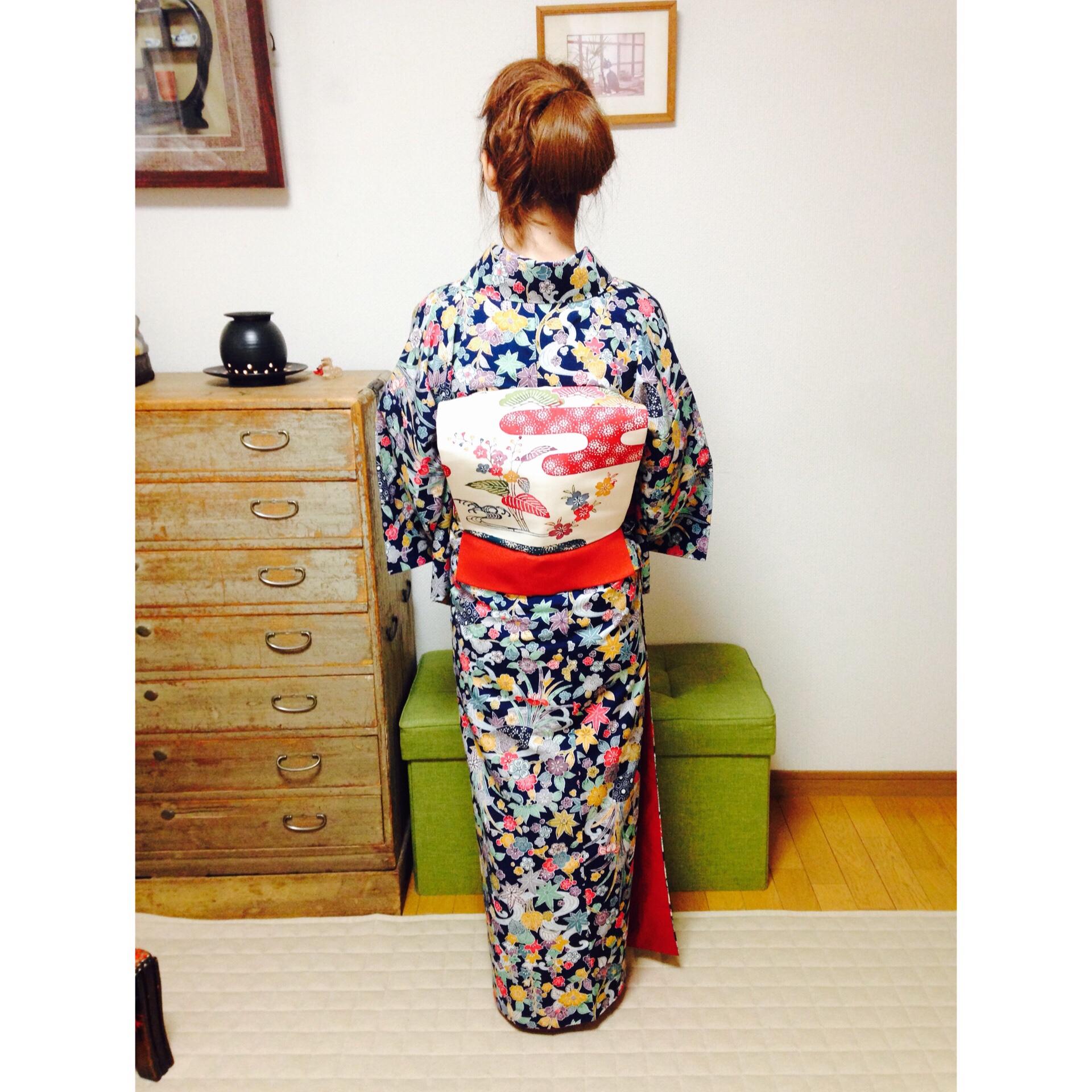 お手本のような正方形の一重太鼓【大阪京橋の着付け教室きものたまより】
