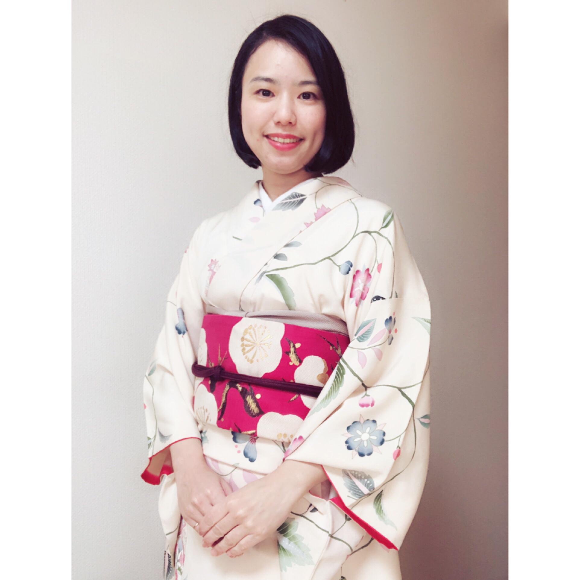そういえば着物と帯のどちらかに花柄を持ってくる癖がある【大阪京橋の着付け教室きものたまより】
