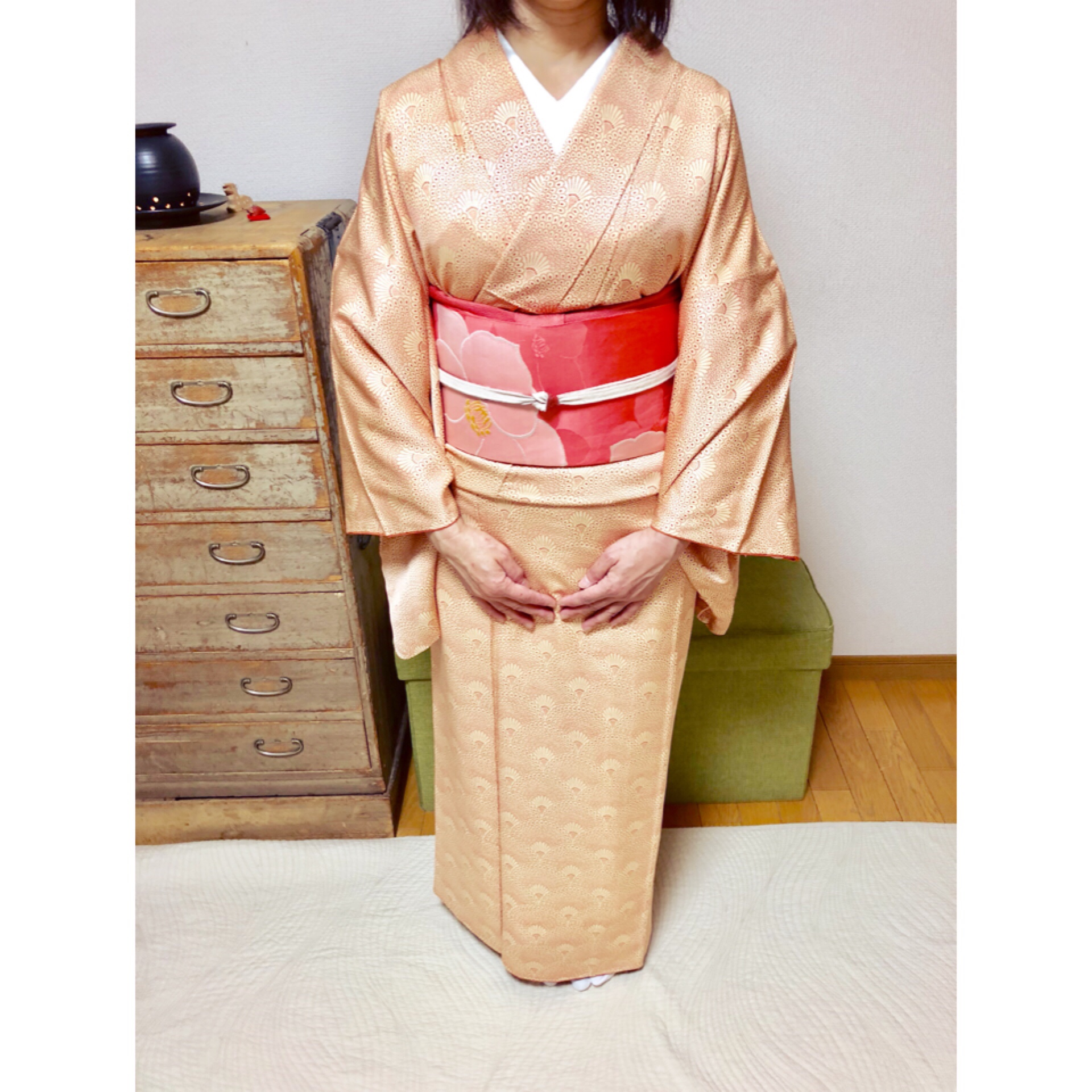 基本コースの途中で袴の着せ付けレッスンへ【大阪京橋の着付け教室きものたまより】