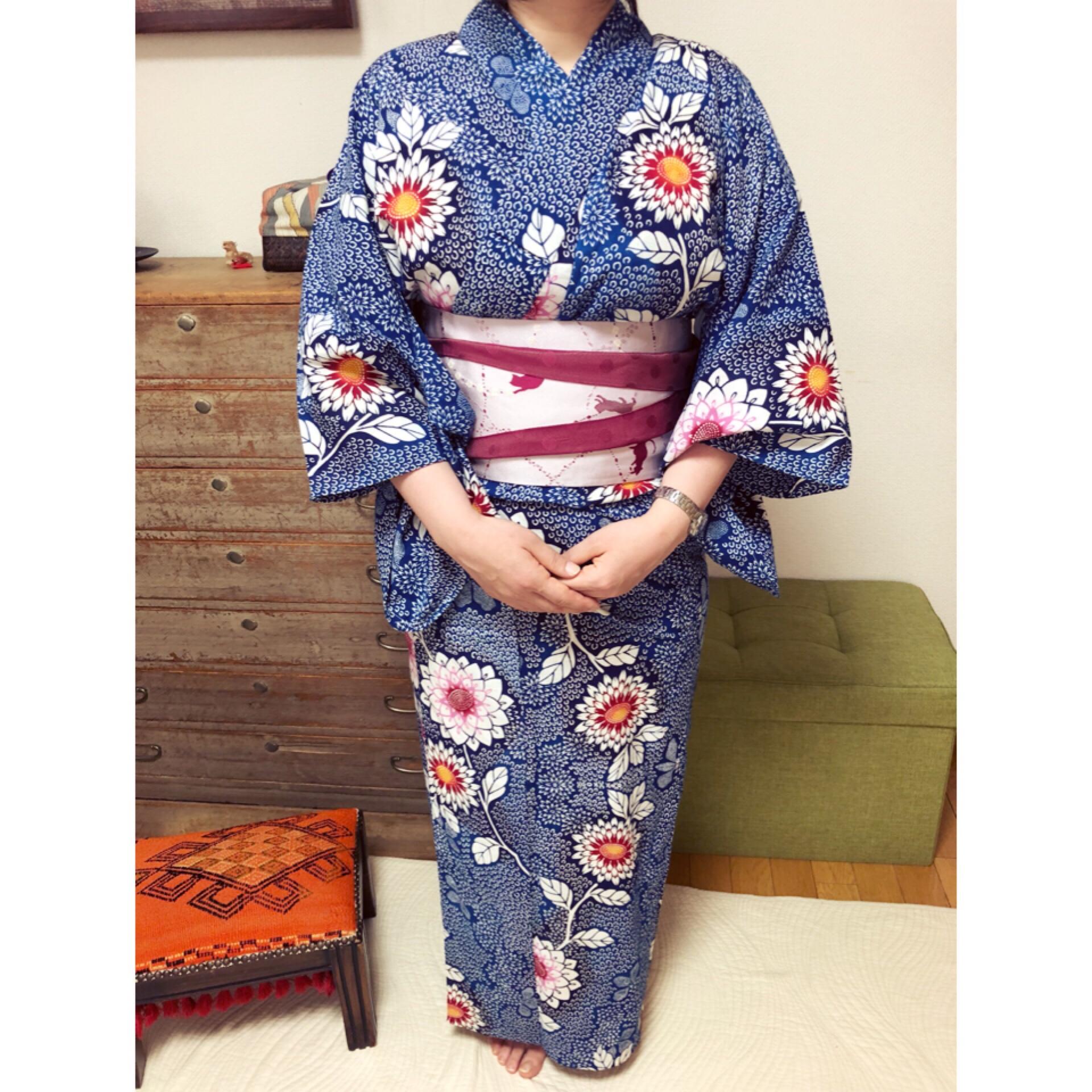 サイズの違う3種類の浴衣でレッスン【大阪京橋の着付け教室きものたまより】