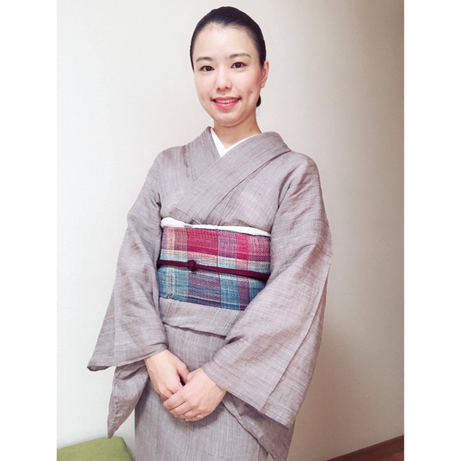 麻の着物と絞りの浴衣コーデ【大阪京橋の着付け教室きものたまより】