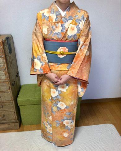 お祖母さまの帯と自分で購入したアンティーク着物の絶妙な組み合わせ