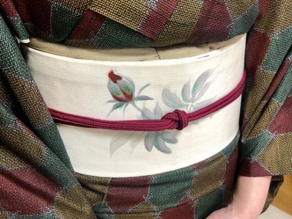 着物と帯と帯締めの色をリンクさせて