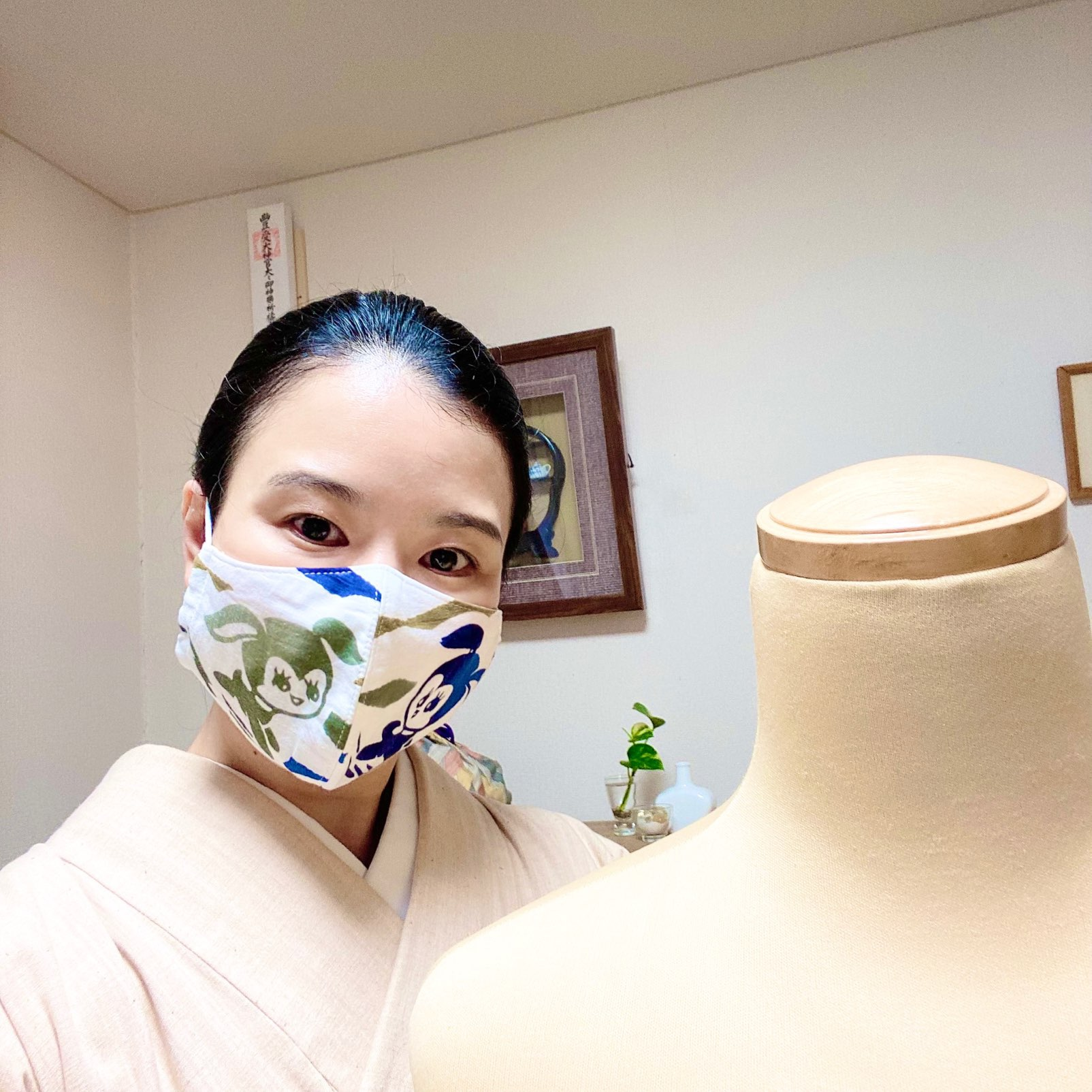 レッスン再開しています~着物とマスク